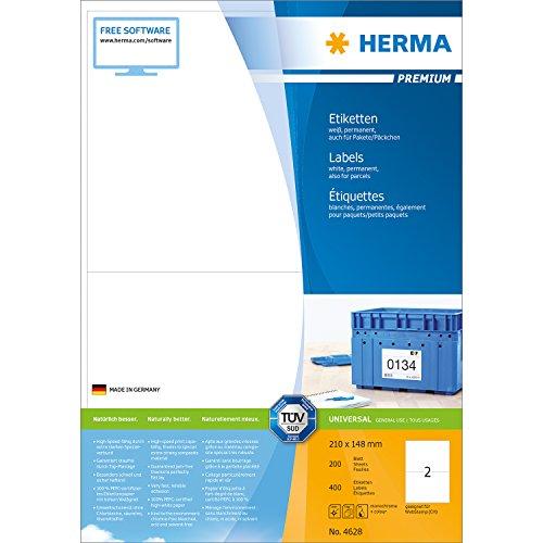 Herma 4628 Etiketten Aufkleber DIN A5 (210 x 148 mm auf DIN A4 Premium Papier matt) 400 Stück, 200 Blatt, weiß, bedruckbar, selbstklebend