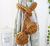 Fittoway une paire de fine à la main Tied Rideau Clip Draperie Pompon Rideau Embrasses/Tassel fenêtre Corde en coton Cravate Boule Dos Accessoires double Ball (café)