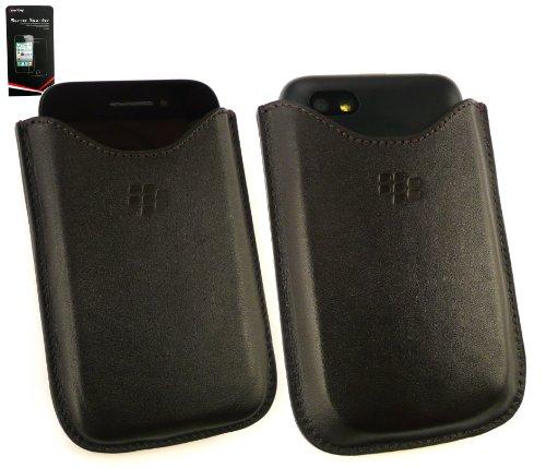 Genuine Blackberry Brown Premium Custodia In Pelle In Confezione Bulk Adatto Per Blackberry Q5 + Screen Protector