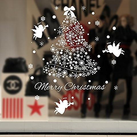 Decorazioni albero di Natale parete sticker Shop Mall ristorante e bar vetro parete adesivo decorazioni natale ornamento adesivo carta da parati decorazioni di Natale