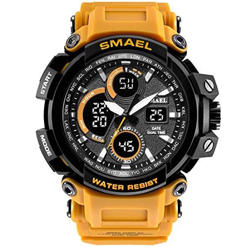 SMAEL Mens Sports Watch, Fashion New Design Watch Analog Digital Watch Sports Wristwatch Military Watch (Yellow)