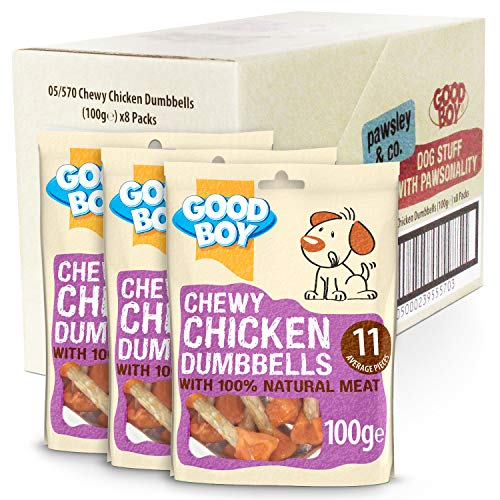 Chewy Chicken Dog Treats - Good Boy Chewy Chicken Dumbells - Pack of 8 - 100ge - Made with 100% Natural Chicken Breast Meat - Low Fat