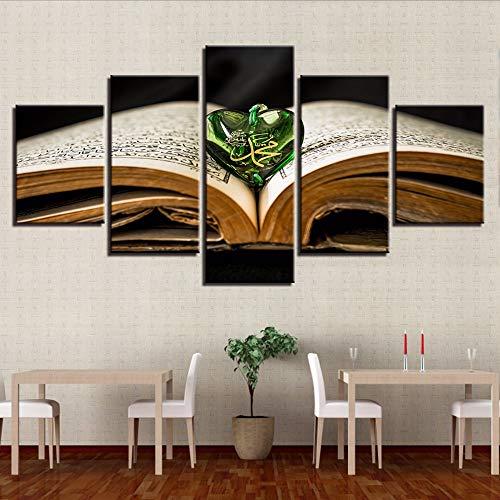 Leinwand HD Drucke Gemälde Wandkunst 5 Stücke Heilige Buch Allah Der Koran Anhänger Poster Muslimische Bilder Modulare Wohnkultur wKunst-20x35/45/55cm,with frame