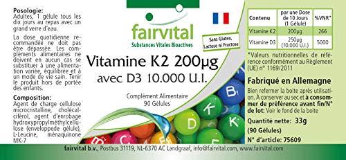 51Tr7VY GmL - Vitamina K2 200 mcg con D3 10000 IU - Altamente dosificado - 90 cápsulas solamente 1 cápsula cada 10 días - ¡Calidad Alemana garantizada!