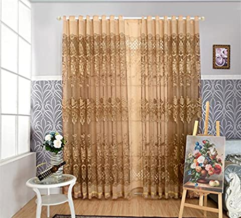 KKLL Curtain Blackout Print Fabric Noise Reducting Solid Thermal Panels for Bedroom modern minimalist openwork Window Drapes Big hole (1 panels) , coffee , E
