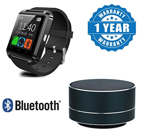 Drumstone Photron Bluetooth Speaker Support Sd Card, Fm Radio with U8 Bluetooth Activity Tracker Smartwatch for One Plus 6 & Moto G5 Plus Mobile