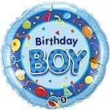 Qualatex - Ballon Alu Rond Bleu Happy Birthday Boy 45Cm