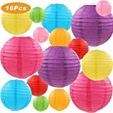 """SUPRBIRD Colorful Paper Lanterns, 16 Pcs 4"""" 6"""" 8""""10"""" Chinese Round Lantern Paper Hanging Decorations with Assorted Colors and Sizes for Birthday Bridal Wedding Baby Shower Festival Party Decorations"""
