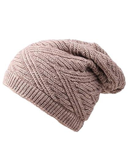 Hieasy unisex Thick Knit Beanie Skull Hat Fleece Lined Slouchy Winter Cap Beige