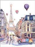 Poster 30 x 40 cm: Eiffelturm und Citroen 2CV in Paris von Anastasia Mamoshina - Hochwertiger Kunstdruck, Kunstposter