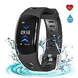 ISWIM Fitness Armband, Wasserdicht IP68 Fitness Tracker mit 3D-Bildschirm, Pulsuhren, Schrittzähler, Anruf SMS Beachten für Männer Frauen Aktivitätstracker für iOS Android Handy (Schwarz)