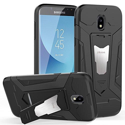 ykooe Galaxy J7 2017 Hülle, Silikon Handyhülle Samsung Galaxy J7 DUOS Schutzhülle Dual Layer Hybrid Handys Schutz mit Ständer Case für Samsung Galaxy J7 2017 - Schwarz (5,48 Zoll) (J7 2017 Schwarz)