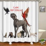 Curtain Funny Shower Unique Digital Polyester Dogs Printing Mildew Proof Waterproof Home Decor(180 200cmCx94)