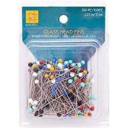 EZ Quilting 881426A 150-Piece Glass Head Pins - Multicolor