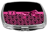 Rikki Knight Letter J Monogram Damask Bow Design Compact Mirror, Pink, 2 Ounce