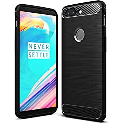 Golden Sand One Plus 5T Back Cover, Premium Rugged Armor ShockProof TPU Back Cover Case for OnePlus 5T Mobile Phone, Midnight Black