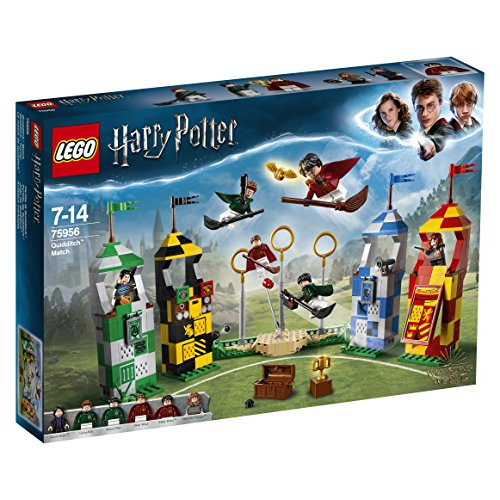 LEGO-75956-Harry-Potter-Quidditch-Match-Building-Set-Gryffindor-Slytherin-Raven-Claw-Hufflepuff-Towers-Hogwarts-Wizarding-World-Magical-Fun-Toy