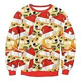 Pull De Noël, Robe De Noël Pour Hommes Et Femmes, Chapeau De Noël 3D Chiens De Noël Shiba Inu Pour Sweat-Shirt, Fête (Cadeau De Noël),M