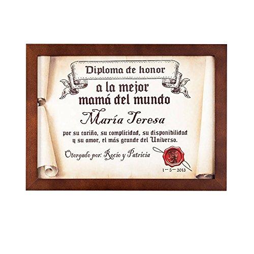 Regalo para madres personalizable: diploma pergamino 'a la mejor mamá del mundo' personalizado con su nombre, dedicatoria, firma y fecha