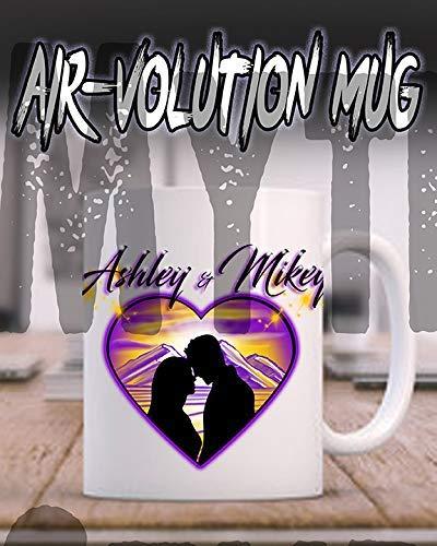 Mythic Airbrush Personalisierte Airbrush Paar Silhouette Herz Landschaft Keramik-Kaffeetasse Weiß