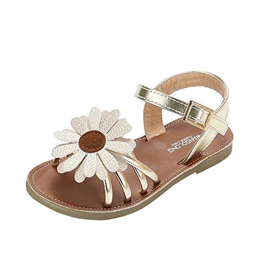 SOMESUN Fashion Kinder Mädchen Sandalen Baby Prinzessin Sommer Niedlich Blume Weich Leder Atmungsaktiv Römisch Schuhe (EU26, Gold) (Kleinkinder Jordan Schuhe Für Mädchen)