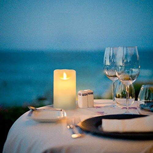 Eyourlife LED romántico parpadeo sin llama velas con mando a distancia luz LED funciona con pilas para boda fiesta de cumpleaños Decoración, plástico, crema, 5 Pouces