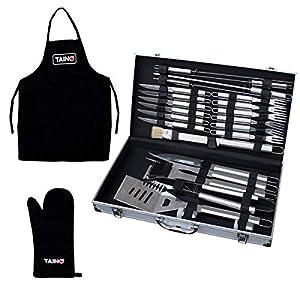 TAINO Grillbesteck Koffer 18-TLG. oder 24-TLG. Edelstahl Grillkoffer Grill-Set Besteck-Set Grillen Grill-Werkzeug (26 Teile)