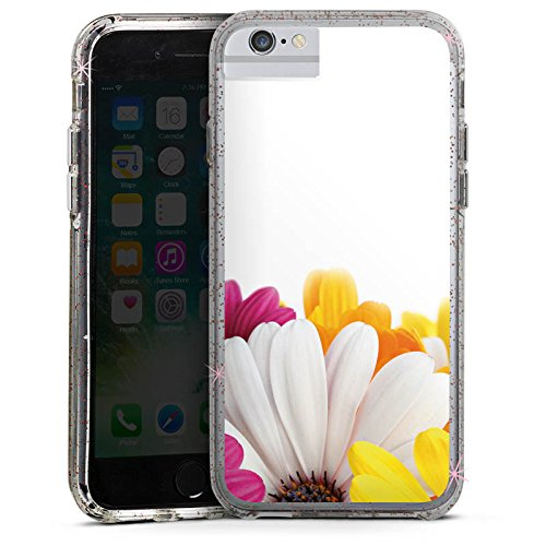 Apple iPhone 6 Plus Bumper Hülle Bumper Case Glitzer Hülle Blumen Flowers Margerite Bumper Case Glitzer rose gold