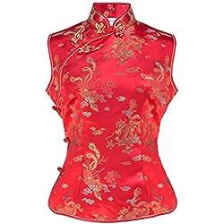 Top china para mujer sin mangas y motivo dragones rojo M