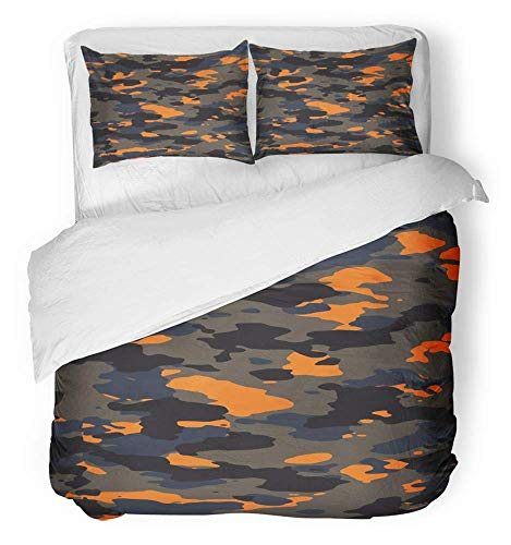 3-teiliges Bettbezug-Set atmungsaktiver gebürsteter Mikrofaser-Stoff Brown Army Dark und Orange Wide Camo Pattern Camouflage Abstract Camoflage Bettwäsche-Set mit 2 Kissenbezügen in King Size - Orange Camo Stoff