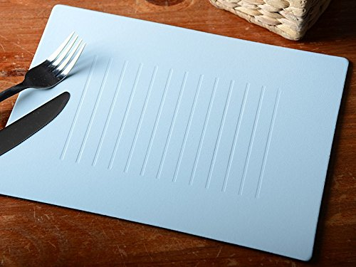 Set of 4 Pastel Blue Embossed Bonded Leather Placemats Table Mats Made In Uk -