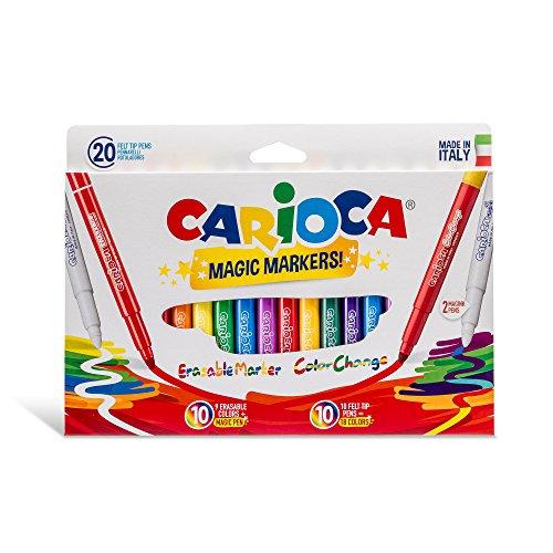 Carioca 41369 - stereo magic confezione 20 pennarelli, cambia colore, cancellabili, maxi punta, 6 mm