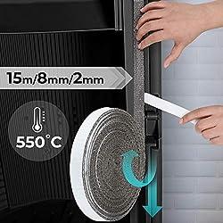 Ruban adhésif isolant - Joint d'étanchéité pour vitre et porte du four - (L) : 15 m - (l x H) : 8 x 2 mm - DIMENSIONS AU CHOIX