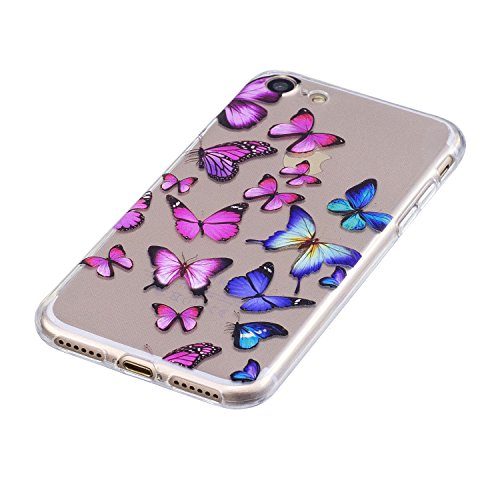 Cover iPhone 5s Silicone, LuckyW 3X Farfalla molla Mandala TPU Silicone Custodia per Apple iPhone 5 5S SE Colorful Pattern Design Transparente Gomma Gel Clear Limpido Bumper Case Cover Ultra Sottile U Farfalla molla Mandala