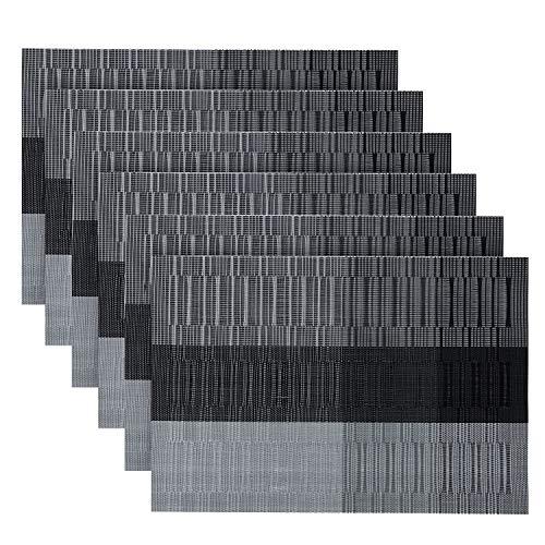 Oume tovagliette americana lavabili pvc tovagliette da tavola non-scivolose resistenti al calore tovaglietta set da 6 (cenere d'argento nera)