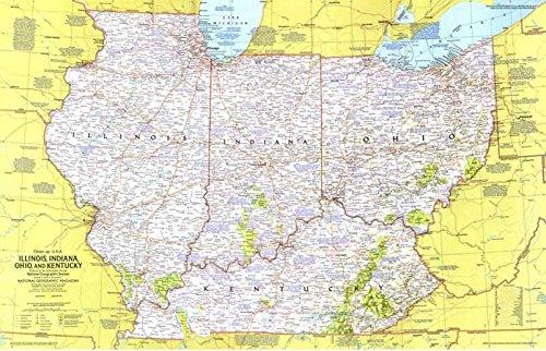 Reproduktion eines Poster Präsentation-USA-Illinois, Indiana, Ohio, Kentucky 1(1977)-61x 81,3cm Poster Prints Online kaufen