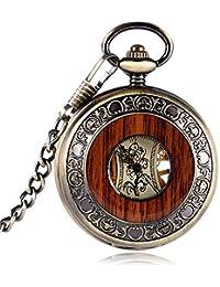 WYZQ Retro Bronce Caja Hueca Número Romano Esqueleto Mano-Viento Mehanical Relojes de Bolsillo con Cadena de
