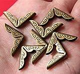 Amasawa Schutzecke,Kantendekor für Bücher 21x4mm Bronze Buchbeschlag Buchecke Metallecke Schutzecke Antikbeschlag 20 Stück.