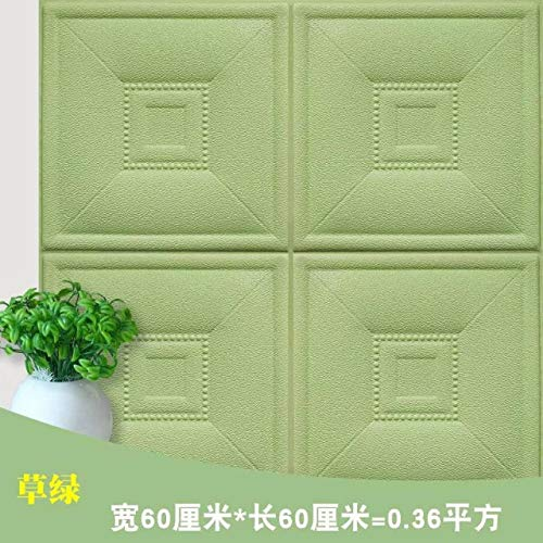 ZMLI Wandaufkleber Weichen Paket Tatami Weiche Tasche Tv Hintergrund Wand Kunstleder Grün Selbstklebende Kissen Grün 60 * 60Cm - Deer Dekorative Kissen