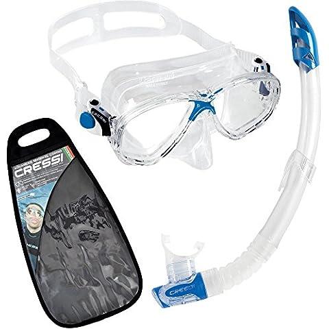 Cressi Marea VIP - Gafas y tubo de snorkel para niño azul azul