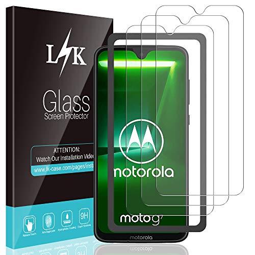 L K 3-Unidades Protector de Pantalla para Motorola Moto G7 / Motorola Moto G7 Plus,Cristal Vidrio Templado Premium [Dureza 9H] [Funda Compatible] [Anti-Arañazos] [Sin Burbujas] [Kit Fácil de Instalar]