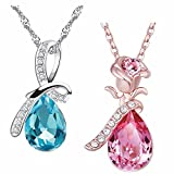 #5: Om Jewells Austrian Crystal Jewellery Combo Set of 2 Ocean Water Drop Pendant Necklace with Chain for Girls and Women CO1000040