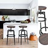 Innovareds - Juego de 2 taburetes de estilo industrial de madera vintage, giratorios, altura ajustable