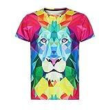 Sommer Lions Drucken T-Shirts Jungen Männer Kurzarm Top Bluse GreatestPAK,Rot,XXL