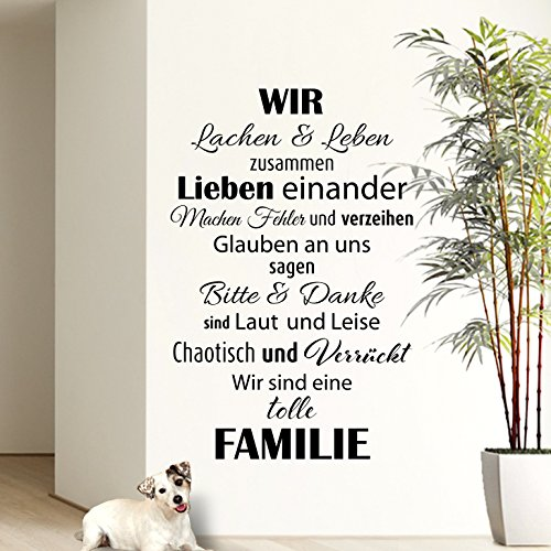 Preisvergleich Produktbild Wandaro® W3301 Wandtattoo Wir sind eine Familie... schwarz 58x90cm