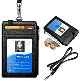 """ELV PU Leather ID Badge Card Holder Wallet with 5 Card Slots, 1 Side RFID Blocking Zipper Pocket and 20"""" Neck Lanyard/Strap for Offices ID, School ID, Driver Licence"""