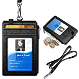 #4: ELV PU Leather ID Badge Card Holder Wallet with 5 Card Slots, 1 Side RFID Blocking Zipper Pocket and 20