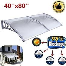 Ridgeyard 1m x 2m Overhead Auvent de porte store marquise solaire abri banne entrée ombre protection