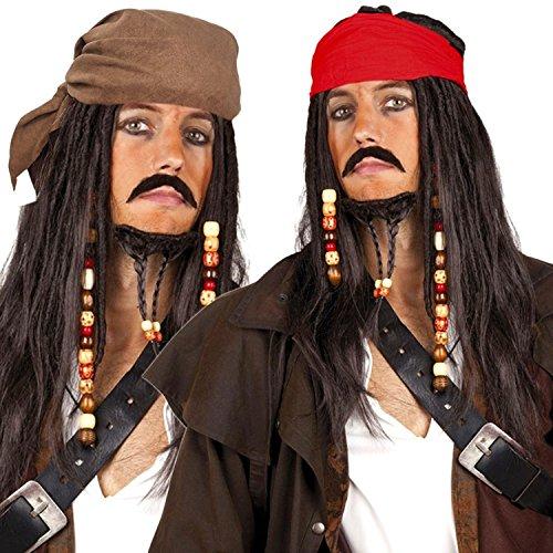 räuber- mit Bandana, Perlen und Charms (Pirat Dunkelbraun - Kopftuch Rot) (Dread-lock-perücke)