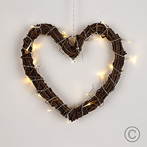 Decorative 20 Warm White LED's Battery Operated Dark Brown Weaved Wicker Rattan Heart Valentine's Wall Light